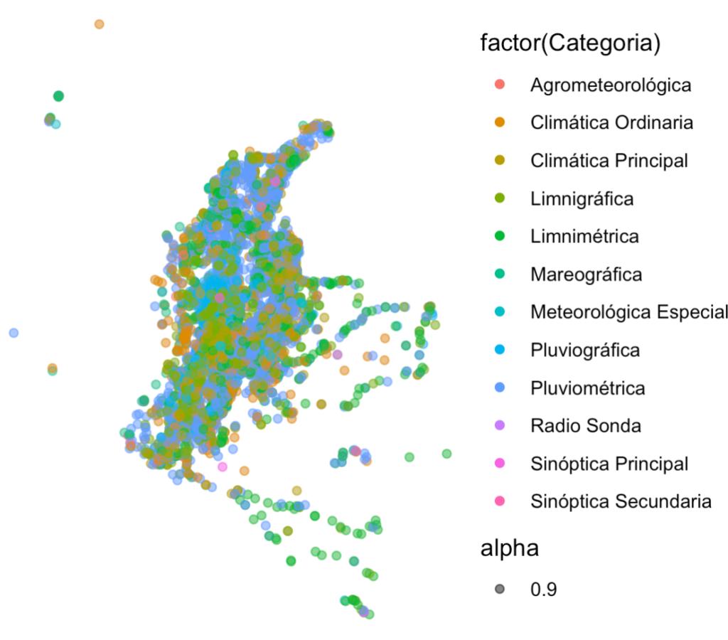 Mapa en R de ubicacion estaciones hidrometeorologicas
